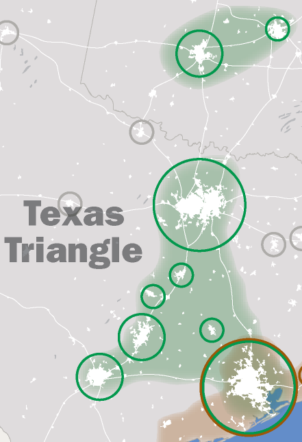 Dallas real estate market update - Texas triangle, map of San Antonio, Dallas and Houston