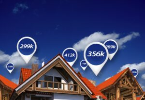 Real Estate Market Blue Price Tags Above Properties. House Prices. 3D Abstract Illustration.